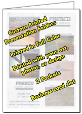 25 Presentation Folders, Full Color Custom Printed 2 Pocket, Your Logo and Text