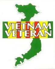 Vietnam Veteran Campaign Ribbon Over Green Map Decal