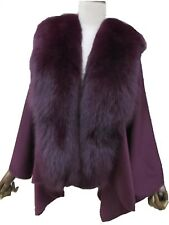 Real Cashmere Stole Cape With Hood A Complete Genuine Fox Fur Collar /Purple
