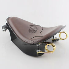 """Brown Leather SOLO Seat Pan Cover Frame 2"""" Gold Spring For Harley Bobber Custom"""