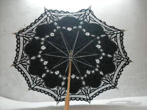 Schwarz Spitzenschirm Baumwolle Deko Sonnenschirm Brautschirm Hochzeitsschirm