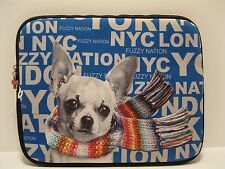 Electronic Purse Fuzzy Nation Padded Blue Chihuahua Laptop Case Zipper NWT L282