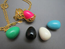 Vintage Look Joan Rivers Egg Pendant 5 Eggs Gold Plated Open Basket Filigree