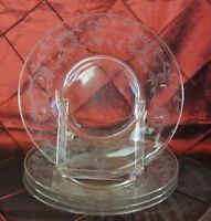 """Set of 4 Pressed  Clear Glass Salad Plates 8-1/8"""""""