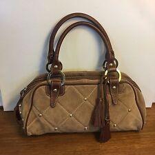 Claudia Firenze Suede Handbag Leather Trim Purse tan suede brown leather studded