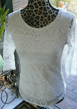 NWT Panhandle Med M ladies creamy white lined lacy 3/4 sleeve top BEAUTIFUL!