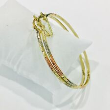 "14K Tri Color Gold Filled V Support 2mm Hoop Earrings,New Size#4 2.25"" Inch Tall"