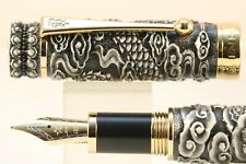 Jinhao Snake Series Fountain Pen Black Lacquer with Antique Grey Overlay