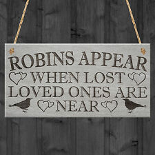 Robins Appear Memorial Love Home Gift Friend Hanging Plaque Heart Sign