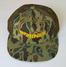 Vtg MARINES 80's Snapback Hat Green Camo Mesh Trucker Cap Camouflage
