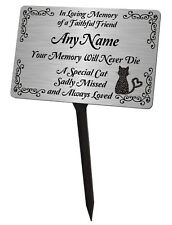 Personalised Cat Memorial Plaque & Stake. Brushed Silver Waterproof garden grave