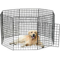 """Portable 28""""Metal Dog Pet Playpen Crate Animal Fence Exercise Cage W/Door 8 Pcs"""