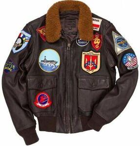 Top Gun Tom Cruise Men's Bomber Brown Fur Jacket