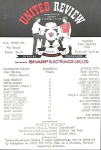 MANCHESTER UTD  V IPSWICH TOWN 1989/90 F.A YOUTH CUP MATCH PROGRAMME 31/01/1989