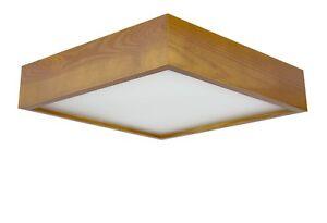 Eiche hell 380 QUADRO E27 Deckenleuchte Deckenlampe Holz Glas Viereck Quadrat