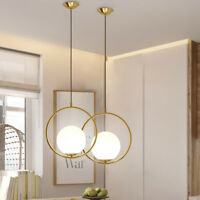Modern Globe Ceiling Pendant Light Lamp Glass Shade Metal Ring Home Bar Decor