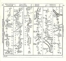 Antique map, The Road from Welchpool to Carnarvon