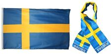 "Wholesale Combo Set Sweden Country 3x5 3'x5' Flag and 8""x60"" Scarf"