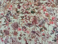 WILD FLOWERS  (F)  30 CMS by LIBERTY  CREAM BACKGROUND on TANA LAWN COTTON