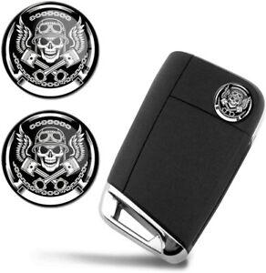 Ø14mm Schlüssel Fernbedienung Lenkrad Aufkleber Schädel Totenkopf Emblem Logo