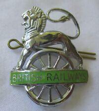 BRITISH RAILWAYS LION OVER WHEEL CAP BADGE IN GREEN EX++