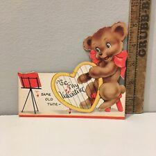 "Vtg Valentine Card Bear Cub Harp ""Same Old Tune"" Carrington"