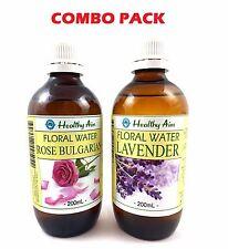 2 X 200ml Pack Rose Bulgarian Lavender Floral Water Natural Hydrosol Toner
