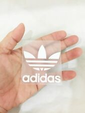 White adidas flora sticker iron on sport logo patch 6 x 6 cm. flex pu & glue DIY