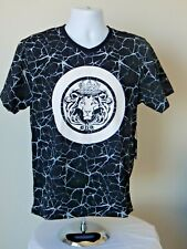 NWT Versace 19V69 Italy V Neck Lion Graphic Embellished T Shirt BLACK S-M-L-XL