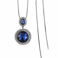 High Quality 18K Black GP Blue Sapphire Circle Crystal Pendant Long Necklace