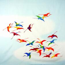 "Japanese 35"" x 35"" Blue Flying Crane Furoshiki Bento Box Wrapping Fabric Cloth"