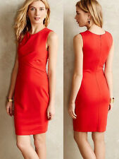 ANTHROPOLOGIE NWT Bailey 44 Gathered Ponte Sheath Sleeveless Dress Red Sz M $198