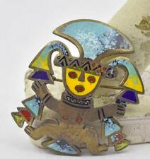 color Enamel Figural Man Pin brooch Vintage Peru Sterling Silver & Multi