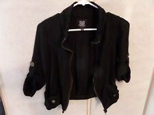 Mine Midnight Black Lightweight Cotton Rayon Jacket Zipper Drawstring S