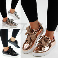 New Womens Flatform Trainers Flat Lace Up Plimsolls Metallic Creepers Shoes Size