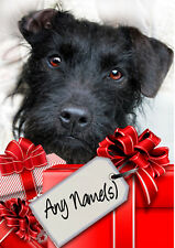 PATTERDALE TERRIER CHRISTMAS CARD Personalised & illustrated in & out  Glossy A5
