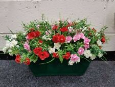 Fake Outdoor Flower Trough / Pot filled with Rose`s White,Pink and Red  - Green
