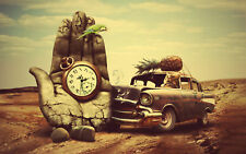 "Abstract-Hand-Watch-Vintage-Car Canvas Wall Art  ""50x34"""