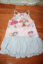 EUC 3 PAPER WINGS rainbow heart FAIRY bubble hem tank dress
