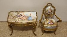 19C Viennese LARGE Enamel Bronze Chair Table Furniture Desk Set Vienna Austrian