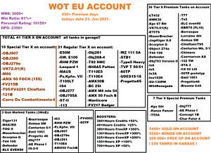 World of Tanks Account WOT EU UNICUM ACC |  Chief / 907 / 279e | 3000 WN8 61% WR
