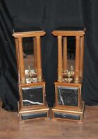 Pair French Empire Marble Pedestal Stands Table Columns Mirrored Supports