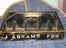 Early ANTIQUE FARRIER WOODEN TOOL BOX Carpenter Caddy OLD BLACK PAiNT Abrams FRR