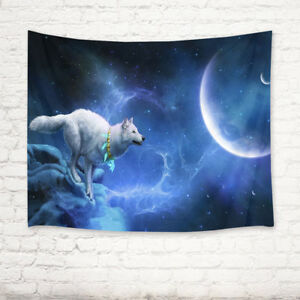 Starry Sky Moon Stars Wolf Tapestry Wall Hanging Living Room Bedroom Dorm Decor