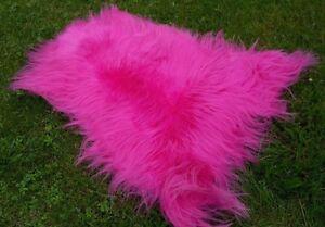 Real Premium Island Sheepskin Lambskin Fur Top Tanned Fuchsia Pink 43 5/16-47