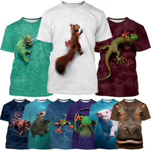 Couple Animals Round Neck 3D womens/mens Short Sleeve T-Shirt Casual Tops Tee