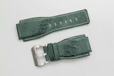 24mm/24mm Green Genuine Ostrich Leg Leather Watch Strap Band For Bell&Ross