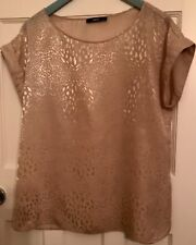 OASIS champagne coloured with a beautiful print short sleeve top UK 14