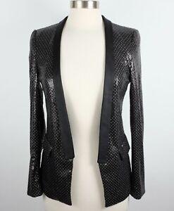 ZARA Woman sz Small jacket blazer sequin black open front tuxedo