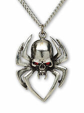Gothic Spider Skull with Red Austrian Crystals Pendant Necklace NK-572